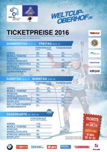 Ticketpreise für den BWM IBU Weltcup Biathln Oberhof 2016.